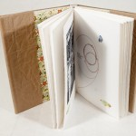 exterior of book opened, cover, end sheets, pages