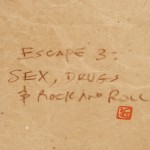 title of Escape 3 on plain brown wrapper over beige denim covered boards